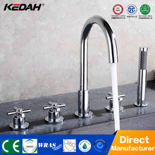 Modern deck mounted bathroom brass triple handle types of bath shower mixer taps