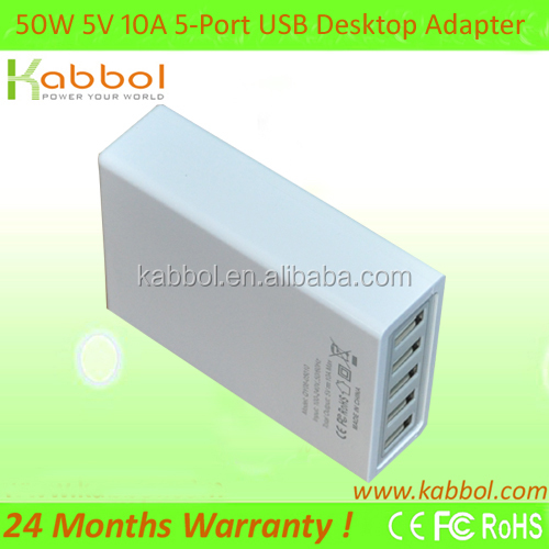 50W 5V 10A 5-port USB Charging Station for iPhone 5s, 5c, 5, 4s, 4; iPad 5, Air, Mini; iPod Touch, Nano; Galaxy Tabs, Galaxy