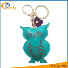 Owl shape leather mobile phone holder key chain owl keychain