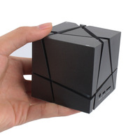 Qone Edge Bluetooth Speaker Cube Square LED Portable Wireless Stereo Mini Mp3 Speaker with FM Radio SuperBass Hidden Button