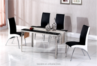 Stainless steel dining table fashion simple marble table tempered glass table and chair combination