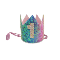 First Birthday Girls Party Hats Glitter Princess Crown 1st Year Old Number Baby Kids Hair Accessories Party Decors Bobocrafts