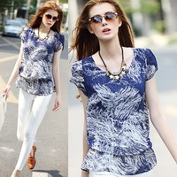 blouses blue flowers printed new fashion women frock top