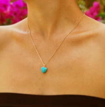Sweet Gold Plated Jewelry Turquoise Heart Shape Pendant necklace Women Fashion Simple Clavicle Chan Necklace For Women