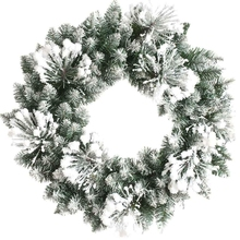 wholesale artificial Christmas wreath PVC pine Christmas garland decoration snow bristle artificial Xmas wreath
