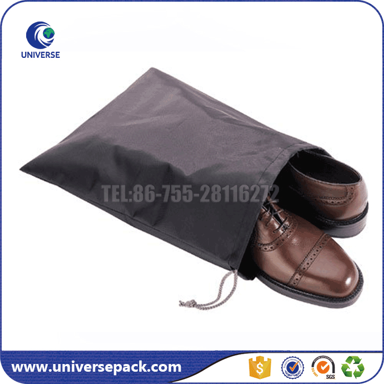 Waterproof recycled polyester shoe cover bag with drawstring