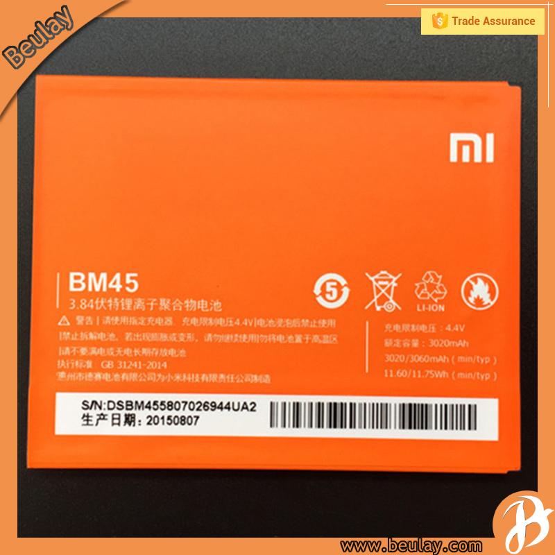 Xiaomi redmi note2 original mobile battery gb t18287 2000 BM45