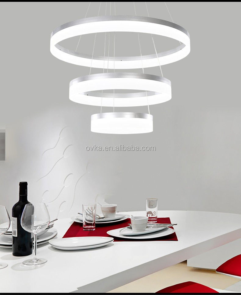 LED chandelier <strong>modern</strong> restaurant lights living room lamp chandelier Acrylic circular fashion creative Pendant light