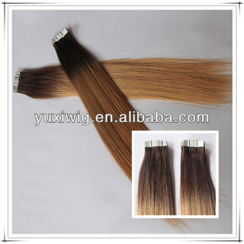 ombre colored two tone human remy tape hair extensions
