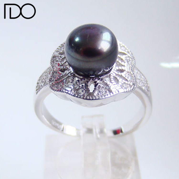 Black Pearl Engagement Ring Designs For Women 925 Sterling Silver Bridal Cheap Pearl Jewelry