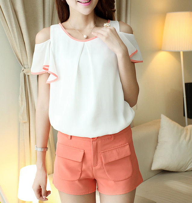 D21744Q 2014 NEW DESIGNS OFF SHOULDER CHIFFON SWEET SUITS,FASHION WOMEN SHORT PANTS SUITS