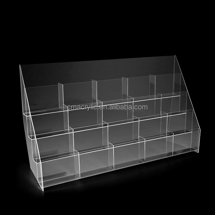 Ladder shaped clear acrylic brochure display rack with many pockets