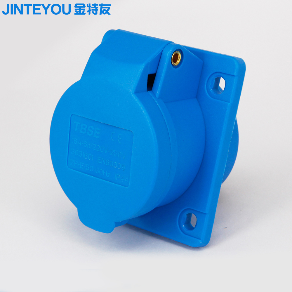 3 pin 220v 16a industrial socket 6h inclined type industrial plug socket