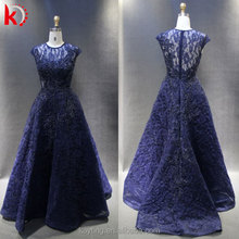 2016 Hand Nail Beaded Evening Dresses O-Neck Cap Sleeve Pleat Real Picture A-line Latest Designs Formal party Gown