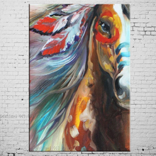 Free Shipping High Quality Abstract Horse Oil Painting On Canvas Pop Art Indian Horse Oil Paints For Living Room Decoration