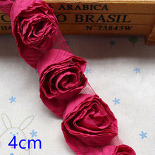 Wholesale Fabric Rose flower Lace Trim for Headband Decoration S037