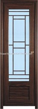 100%PVC framed interior glass toilet door with grills