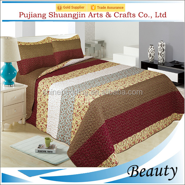 Printed Pattern and Stitching Technics bed sheet quilt with pillow sham
