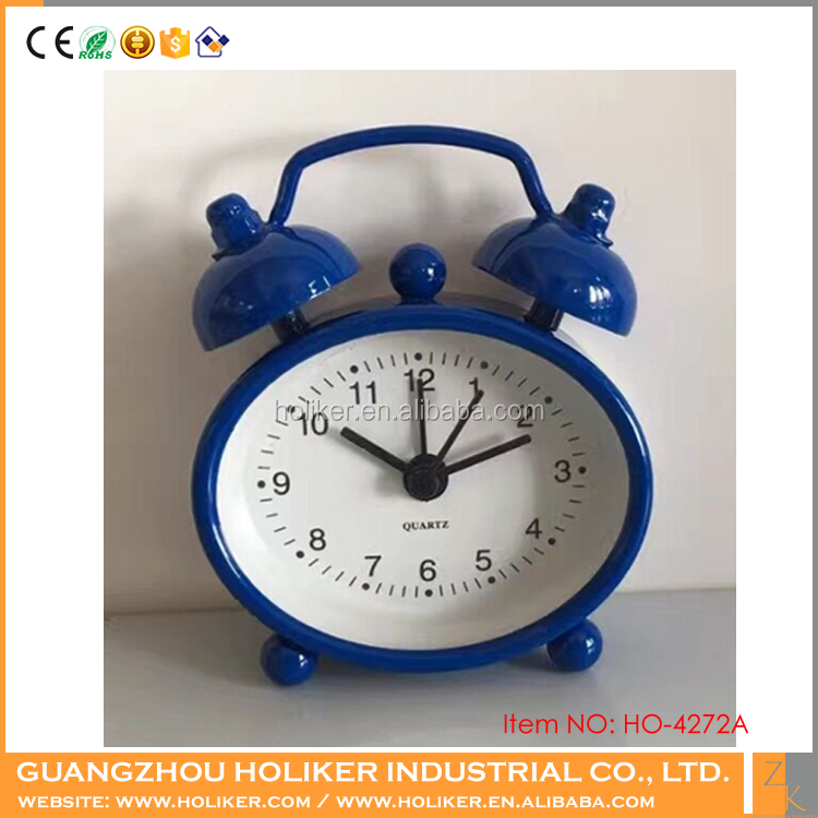 Mini metal twin bell travel oval table rugby alarm clock for promotion