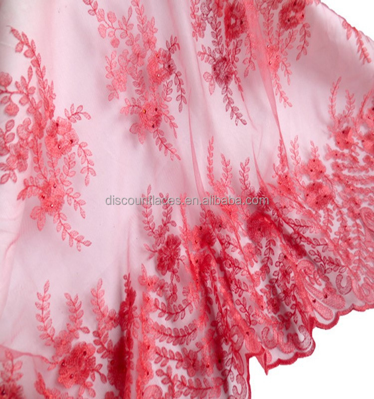 Watermelon Red Popular Pattern French Lace /African Stones Net Lace Fabric/ Embroidery Lace