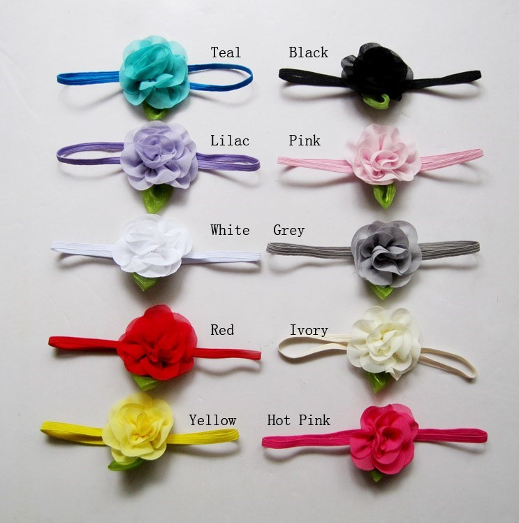Baby boho headband Infant toddler Flower Headbands with leaf Newborn Photography Props Girls hair accessories