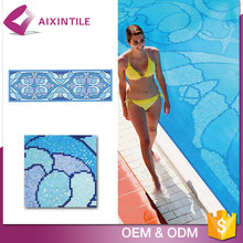 OEM Production Non-Slip Swimming Glass Pool Tile Blue