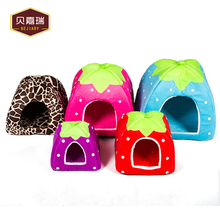Colorful Pantherine Strawberry Shaped Pet House With Warm Cushion Basket