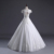 2018  luxury backless cap sleeve  Ball Gown floor length bridal dress french lace wedding dress  Vestido de Novia