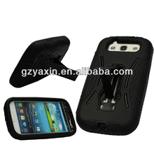 Robot kickstand hybrid armor protective defender hardshell cell phone case for samsung galaxy s3