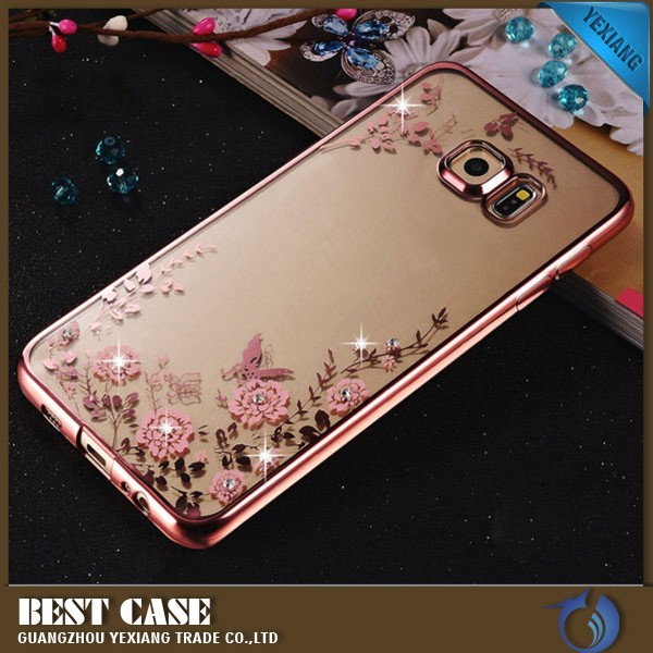 for samsung s6 edge case clear cellphone electroplated tpu case for galaxy s6 edge