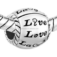 live laugh love decor Silver Plated Flower Charms Bracelets Live Love Laugh Heart Love