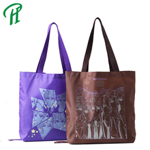 210 polyester customized logo print handle tote promotional shopping bag, folding tote shopping bag