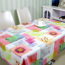 Colorful Flower Printed Plastic PVC Table Cloth Eco-friendly Oilproof Tablecloth
