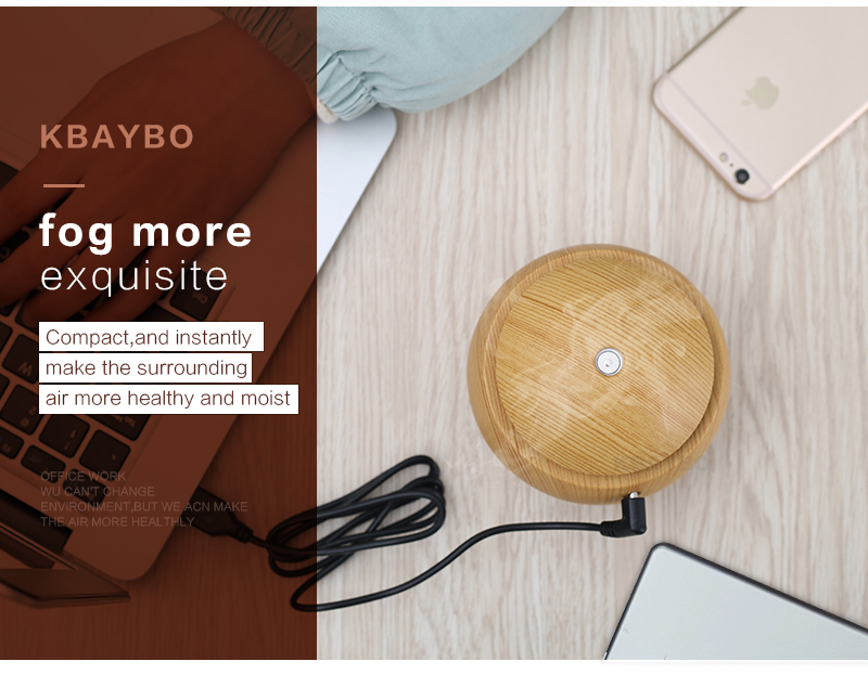 Diffuseur d'huiles essentielles USB KBAYBO bois, aromathérapie, brouillard, vapeur, effet immédiat