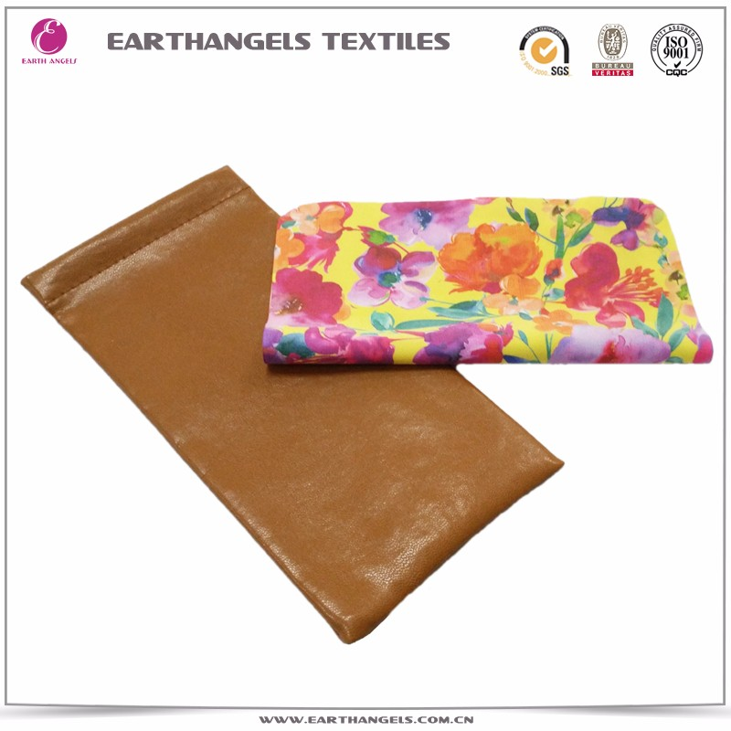 PU spectacle leather pouch with full color printing microfiber lens cloth
