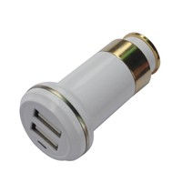 White SN-156 half of Metal 3.1Amp/12V dual car charger 2 usb