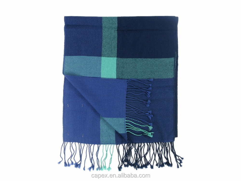 Green Checked 100% Finest Men Thin Wool Scarf