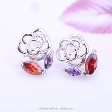2015 Fashion Crystal Stud Earrings Pink Rose Design Earrings