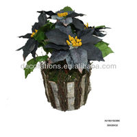 Artificial potted poinsettia