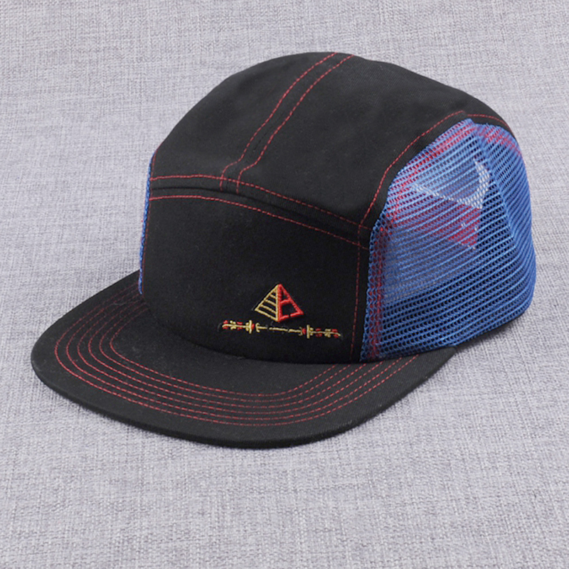 Custom design nylon mesh 5 panel hats,design your embroidery 5 panel caps and hats