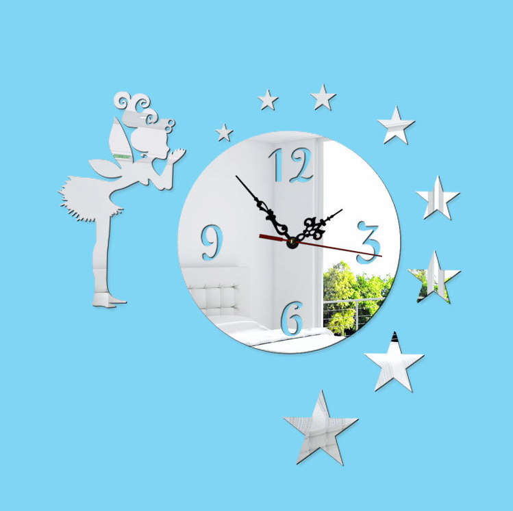 Hot Selling Girl Star Mirror Wall Sticker Clock Home Decor Kids Room Fancy Decorative Wall Clock