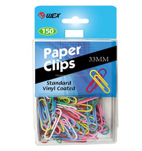 Vinyl Coated 33mm Paper Clips 150/PS BOX