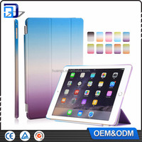 Free sample universal smart flip colour 3 folios design gradient changing colours tablet case for apple iPad