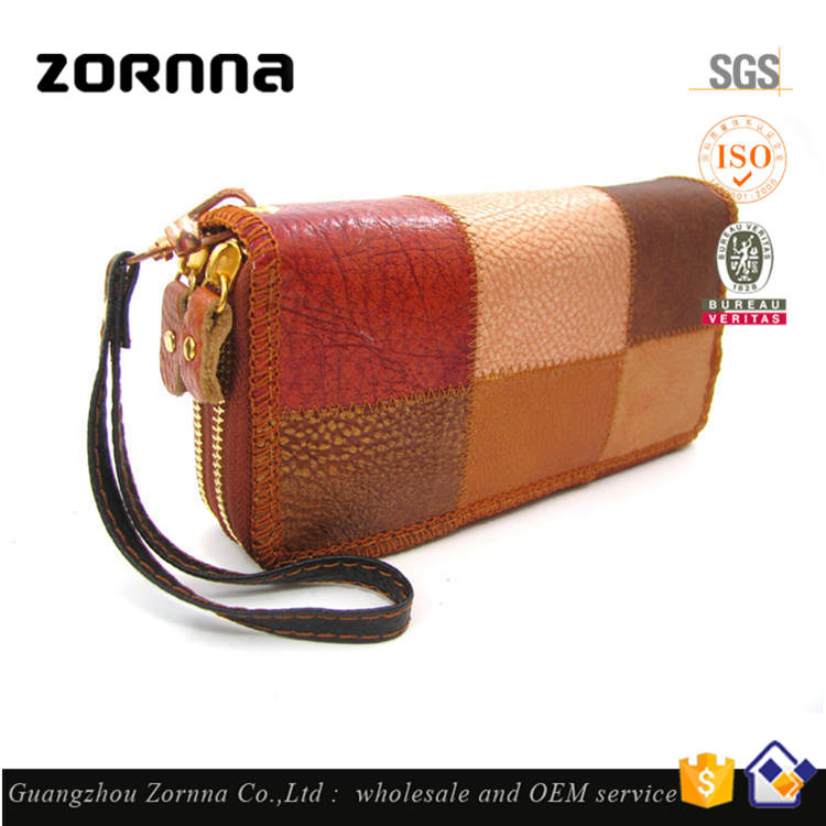 Mix Color Double Zipper Fashion Big Size Female Cheap Flip Famous Brand Ladies Fabric Exotic Leather Wallet