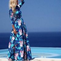 new design printed women long dress muslim arab women blue flowers dress