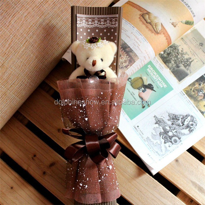 LOW MOQ cheap plush teddy bear bouquet valentine gift colorful soft plush toy cartoon bouquet