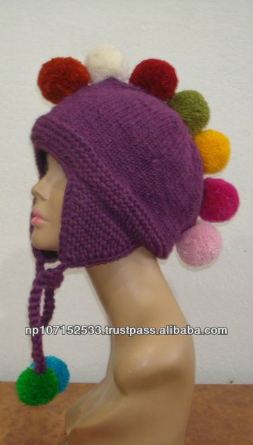 woolen ear cap with top ball knit price 200rs $2.35