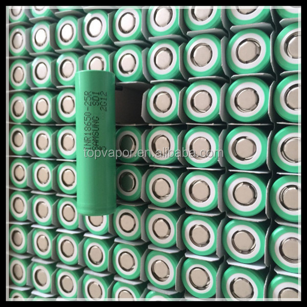Samsung original INR18650 25R green color 2500mAh 20A power lithium battery, 3.6V 2500mAh Li-ion rechargeable battery