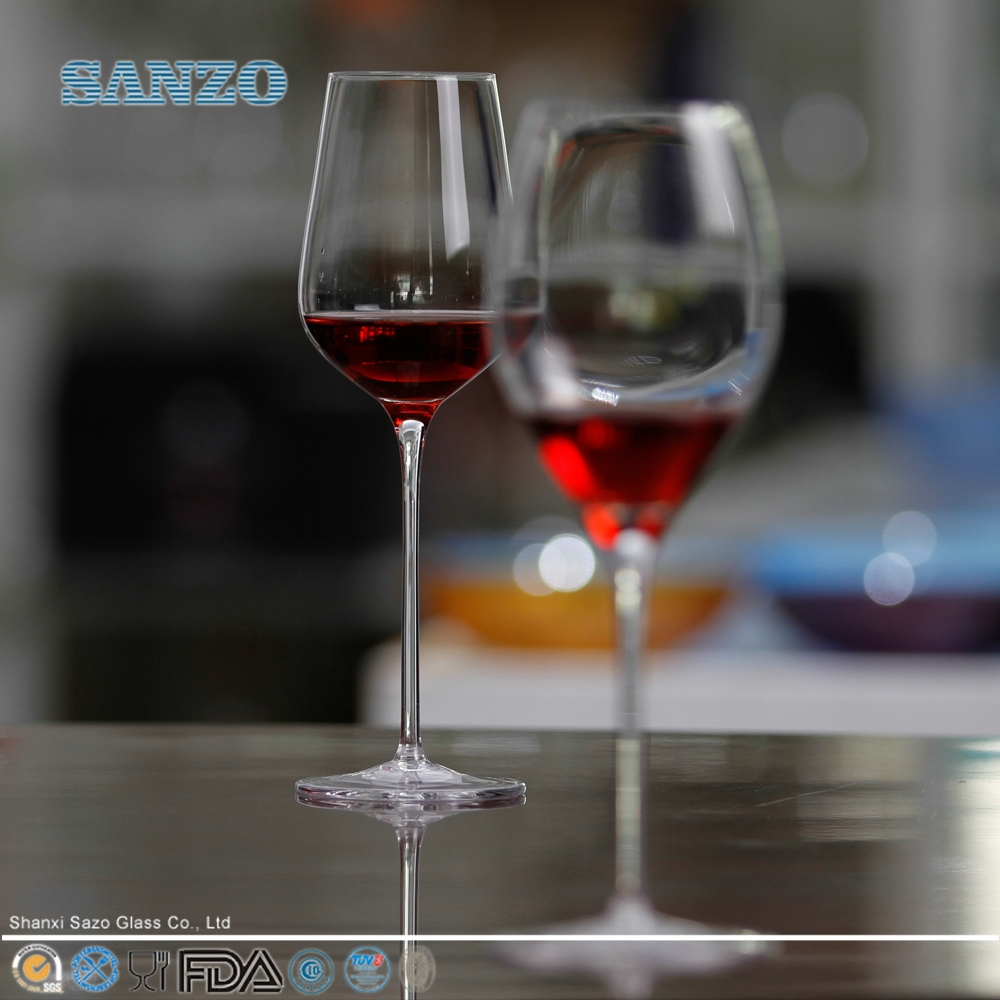 SANZO Long Stem Wholesale Crystal Black Wine Glass Cup