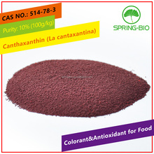 Springbio La cantaxantina beadlet 10% food grade canthaxanthin CWS red colorant and antioxidant